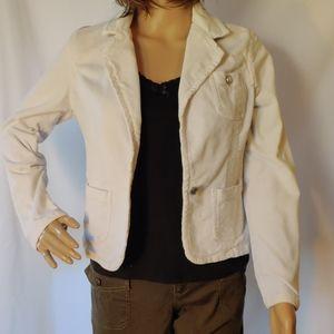 No Boundaries White Corduroy Tailored Jacket Retro